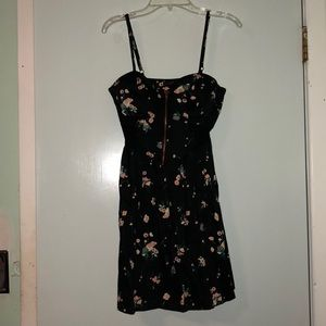 Black floral zip-up bustier dress